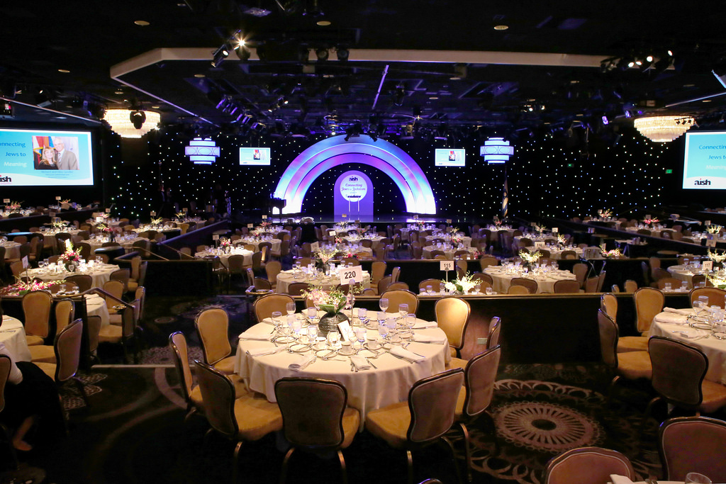 Aish LA Banquet Set and Room Design with Branding Elements