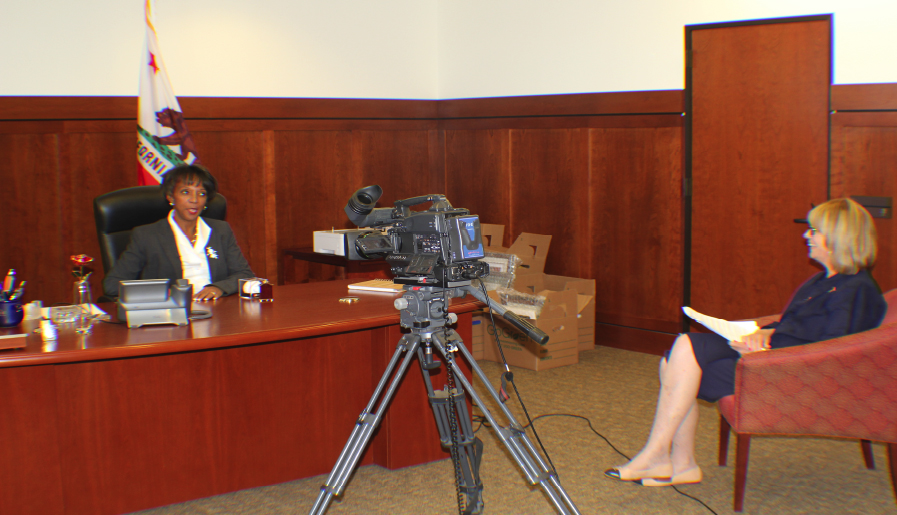 Los Angeles District Attorney Jackie Lacey being interviewed by Sarah Weintraub