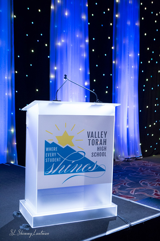 Valley Torah High School Gala's Podium Detail at the Hilton Universal City Hotel